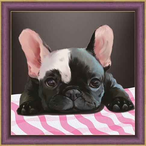 Алмазная мозаика 30x30 Черный щенок с белым пятнышком