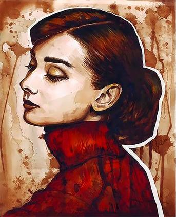 Картина по номерам 40x50 Профиль грустной девушки